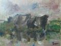Friese koeien 40 x 50 olie (houten lijst)