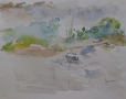 Landschap - Noss Mayo 24 x 30 aquarel (kliplijst)