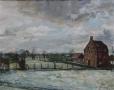 Vlaams winterlandschap I- 50 x 60 gouache (houten lijst) VERKOCHT