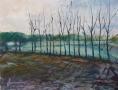 Vlaams winterlandschap II- 50 x 60 gouache (houten lijst) VERKOCHT