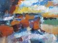 Boten III 100 x 120 cm Acryl op doek