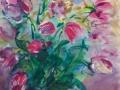 Bloemen - Tulpen 70 x 50 ipp gouache (alu lijst)