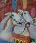 Carroussel paarden II 60 x 50 (houten lijst)