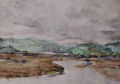 Landschap met meer en heuvels 50 x 60 ipp aquarel