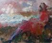 Rode zittende vrouw 50 x 60 olie
