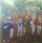 Muzikanten in het Park 100 x 100 olie (verkocht)