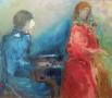 Piano en zang - 70 x 80 olie (alu lijst)