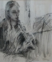 Portret - Andrea met fluit 40 x 33 ipp krijt (houten lijst)