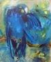 Blauwe papegaai 60 x 70 olie
