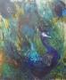 Blauwe pauw II 60 x 50 olie