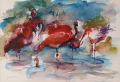 Flamingo's I 50 x 60 ipp gouache