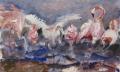 Flamingo's II 50 x 60 ipp gouache